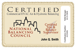 NBC Certification Card Sample